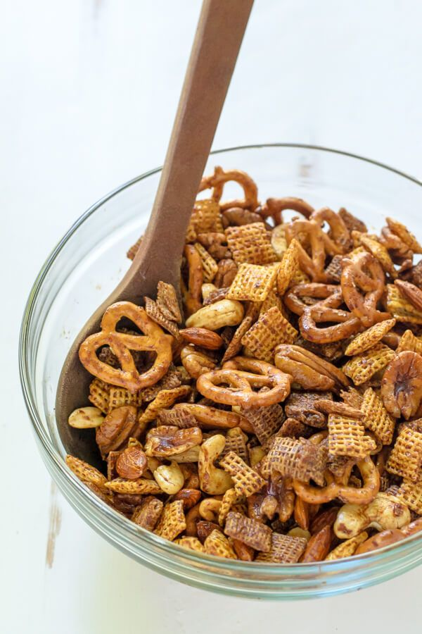 Healthy Chex Mix. Sweet, spicy, and you'll never believe it's lightened up!