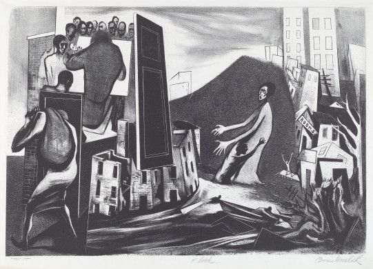 Boris Gorelick (artist)  American, 1908 - 1984  Works Progress Administration/Federal Art Project-New York City (publisher)  Flood, c. 1935-1941 lithograph image: 337 x 485 mm sheet: 404 x 576 mm Reba and Dave Williams Collection, Gift of Reba and Dave Williams  2008.115.2189