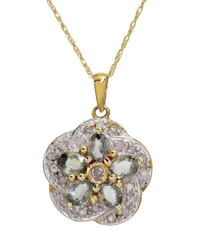 10K Two Tone Gold Necklace Diamond Wonderful necklace with genuine diamonds and sapphires well made in 10K two tone gold. Total item weight 2.5g. Length 18 inch. Gemstone info: 21 diamonds, 0.22ctw., round shape and H - J color. Clarity: I2. 5 sapphires, 1.16ctw., oval shape and green color.