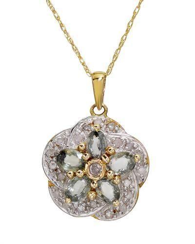 10K Two Tone Gold  Necklace Diamond