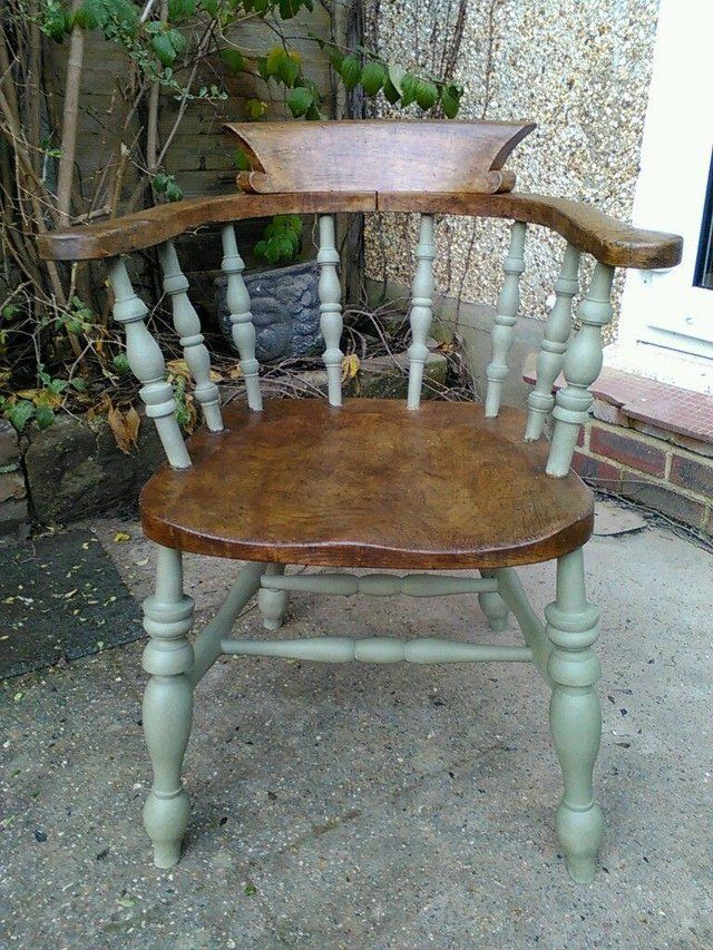 Captains chair - Elm - Upcycled - Varnished / Annie Sloan for sale