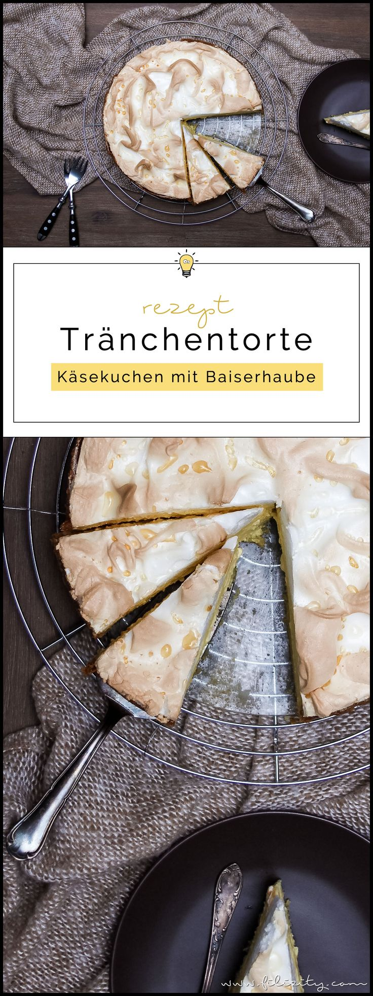 Rezept: Tränchentorte - Käsekuchen mit Baiserhaube   Filizity.com   Food-Blog aus dem Rheinland #cheesecake