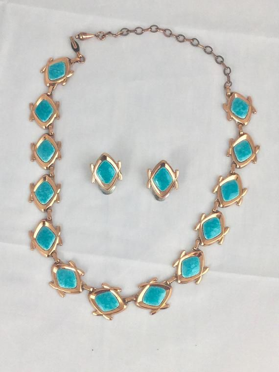Gold Copper Stone Necklace /& Earring Set Turquoise