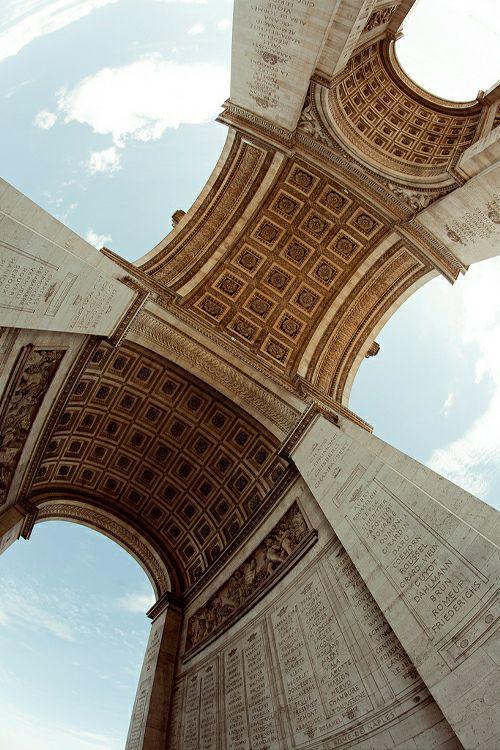 Under the Arc de Triomphe, Paris | The Arc de Triomphe de l'Étoile is one of the most famous monuments in Paris. It stands in the centre of the Place Charles de Gaulle (originally named Place de l'Étoile), at the western end of the Champs-Élysées.