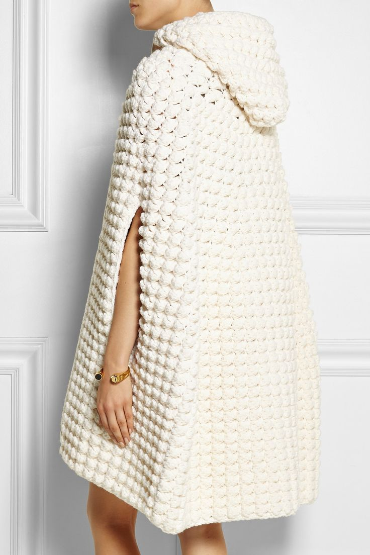 Saint Laurent|Hooded crocheted wool-blend cape|NET-A-PORTER.COM                                                                                                                                                                                 More