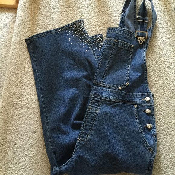 """Denim Bling Overalls Wide Leg by Ethyl Size M These are the coolest . Get noticed in denim overalls. Great bling on the pockets and bottom of legs. Like new condition. Overall length 51"""". Inseam 21"""", waist 34"""", hips 40. Leg opening 18"""" Ethyl Jeans Flare & Wide Leg"""