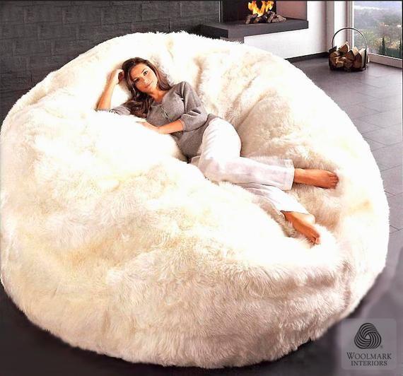 Modern Sheepskin Wool Beanbag Chair Jumbo Etsy Bean Bag Chair Giant Bean Bag Chair Giant Bean Bags Large bean bag chair for adults