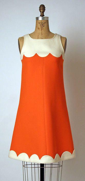 Orange n Cream Scalloped Shift Dress  André Courrèges, 1968