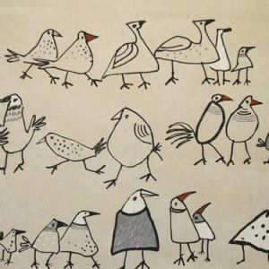 Birds design on a matt cotton oilcloth.