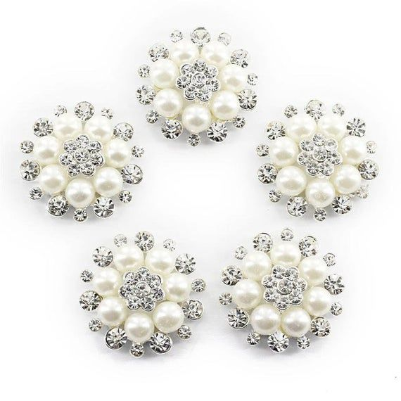 10pcs Faux Pearl Flower Buttons Embellishments for Craft Shank Clear Rhinestone Buttons Sewing Craft