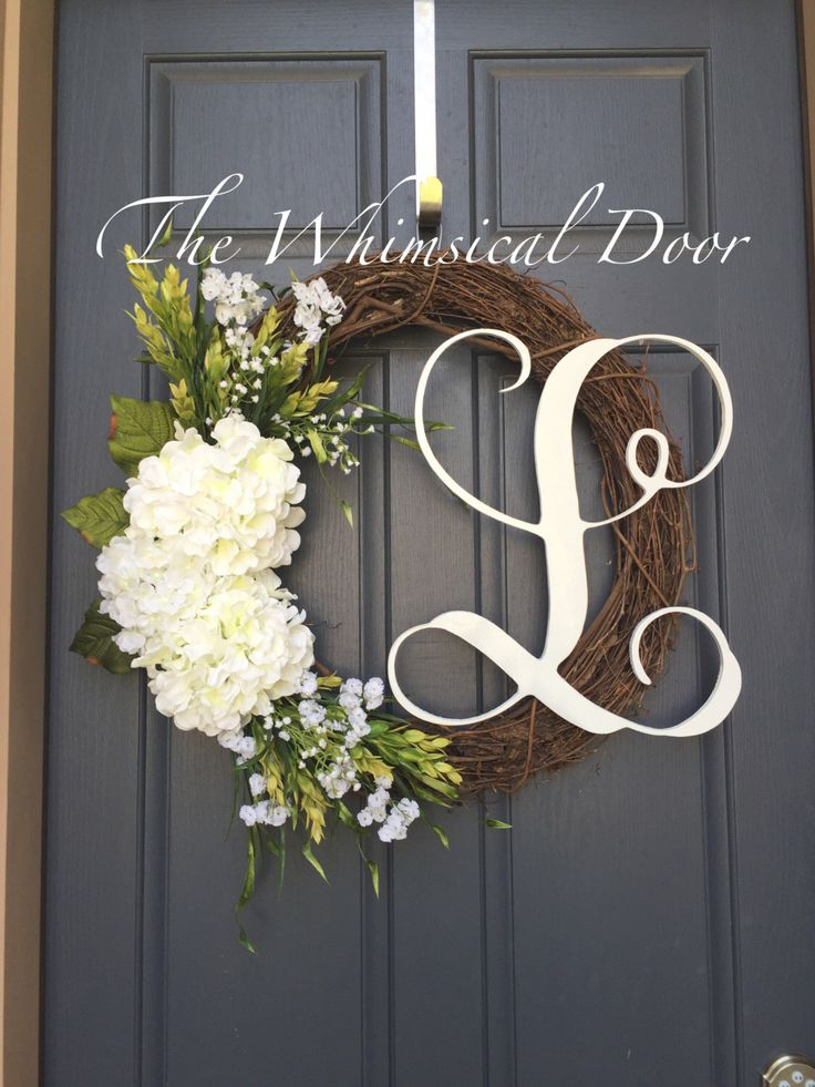 Large Hydrangea Wreath Monogram Wreath Floral By TheWhimsicalDoor