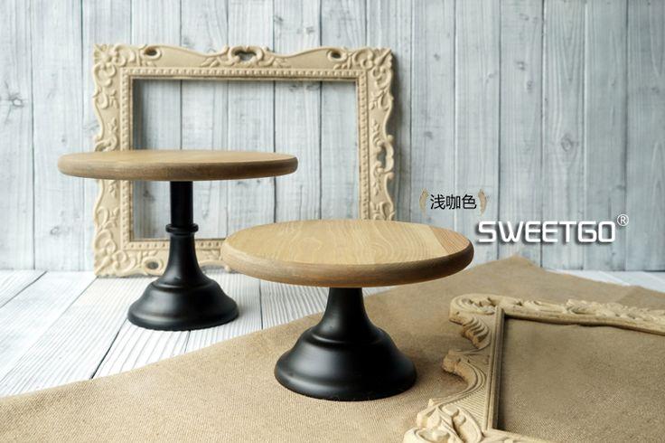 Alibaba グループ | AliExpress.comの プレート からの 素材:木材+鉄 サイズ: s着丈25センチ*高さ14センチl着丈30センチ*高さ21センチ 色:赤茶色、ライトコーヒー &nb 中の ウッドケーキスタンド/結婚式の小道具/レトロケーキプレート/コンチネンタルアイアン/デザートテーブル/ハイチトレイ送料無料