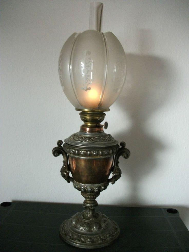 Ideal Alte Antike Petroleumlampe Gr nderzeit Jugendstil Prunklampe Historismus Lampe
