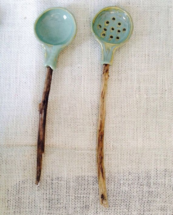 Serving spoon set of two, last set of rustic sage available.  These are unique and beautiful serving utensils hand crafted in Vermont. The drift