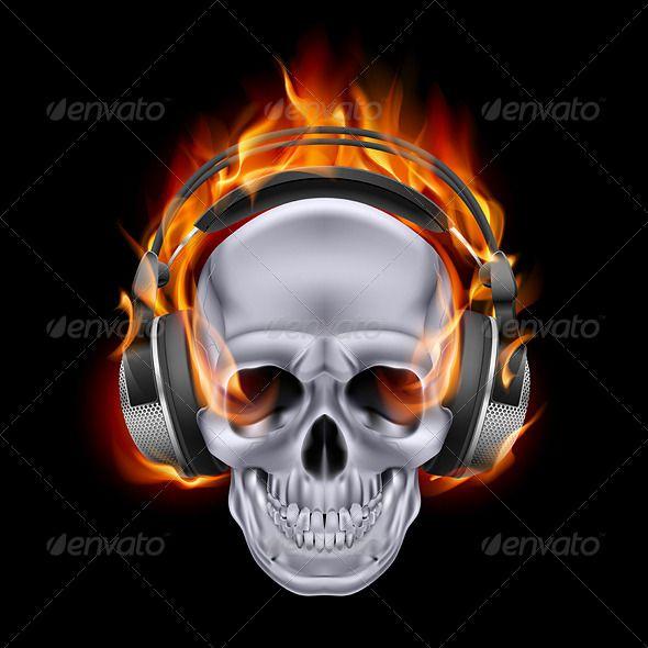 wallpaper skulls with flames