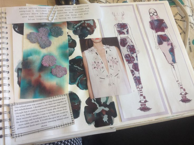 Fashion Sketchbook - fashion design development with dyed fabric samples & fashion sketches; fashion portfolio // Sarah Davies