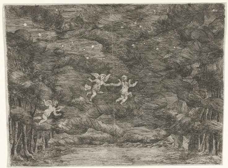 Jan van Ossenbeeck   Toneeldecor met engelen aan de nachtelijke hemel, Jan van Ossenbeeck, 1663 - 1674  