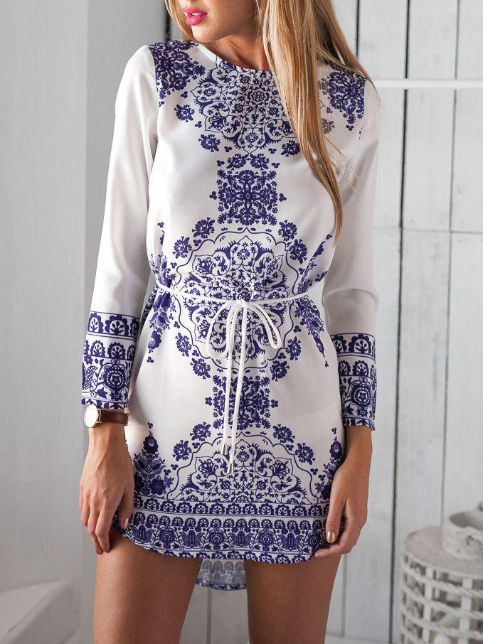 Blue Long Sleeve With Belt Vintage Print Dress -SheIn(Sheinside)