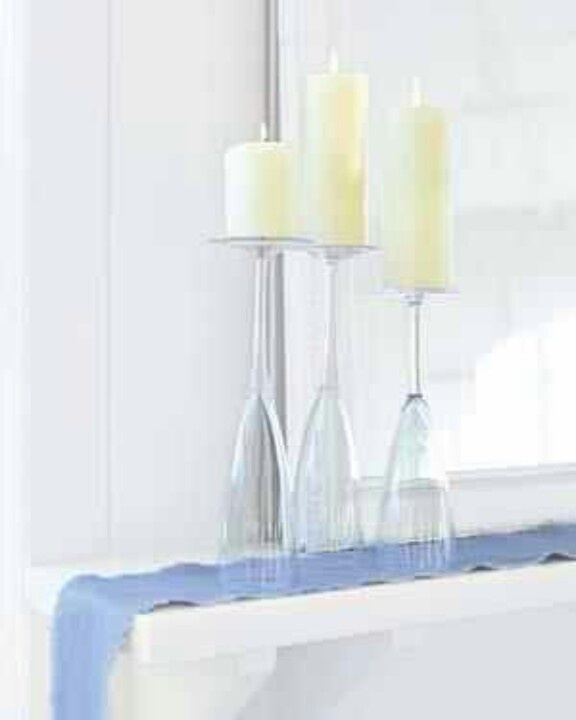 Easy decorating use a wine glass as a candle holder for Beach wine glass candle holders