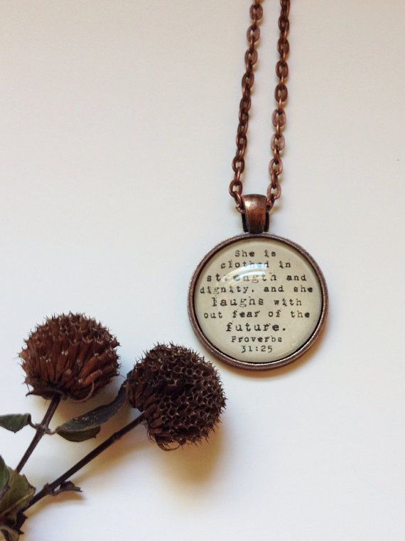 Proverbs 31:25 vintage style copper necklace 1 inch pendant Bible verse on Etsy, € 12,84