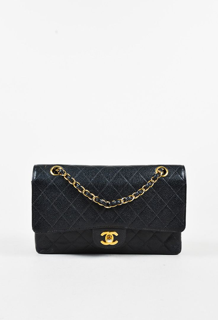 Chanel Black Caviar Leather Chain Strap Double Flap Classic Bag – Luxury Garage Sale