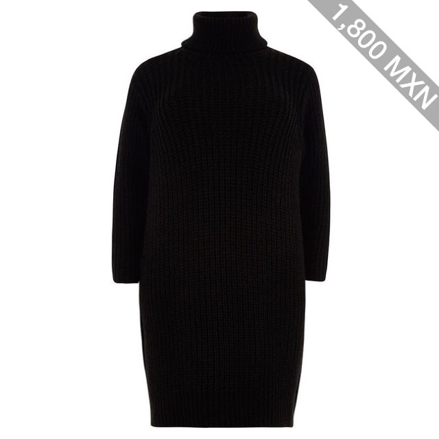 River Island Plus black roll neck sweater dress