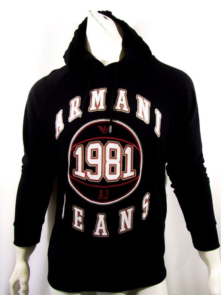 Armani Jeans men's pull over hoodie size large graphic logo NEW on SALE #ArmaniJeans #Hoodie