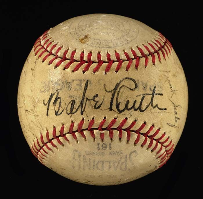 Babe Ruth autographed baseball with New York Giants team, c. 1938-39 - by Hunt Auctions