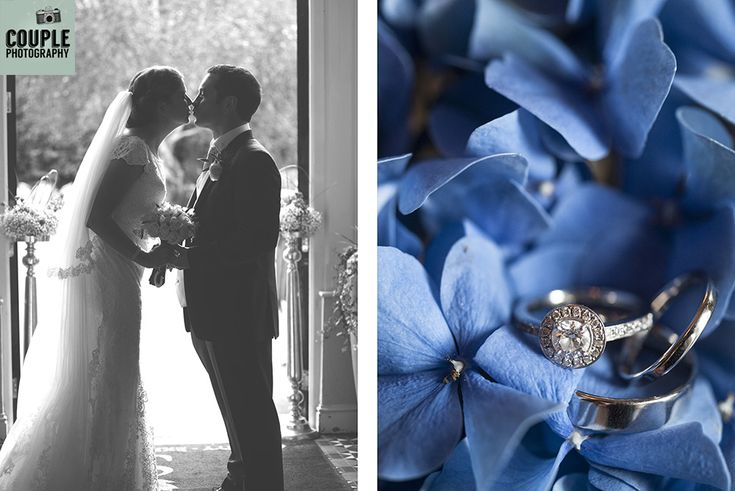 The newlyweds have a kiss at the entrance to their reception. The engagament & wedding rings surrounded by beautiful vibrant blue hydrangeas. Weddings at Summerhill House Hotel by Couple Photography.