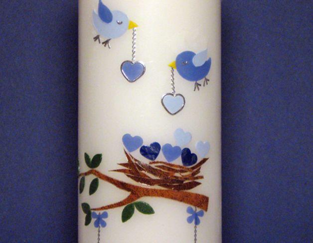Taufkerze Vogelnest - blau