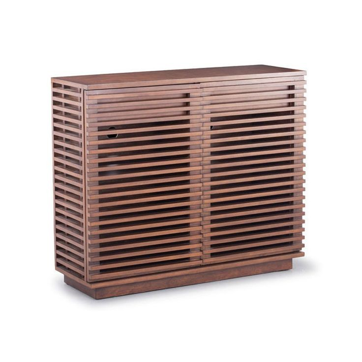 Store power cords, media equipment and other devices in this tall Slatted Walnut Console and never worry about mixing tech devices into your modern interiors again. Featuring a versatile walnut finish and solid fir and engineered wood blend construction.