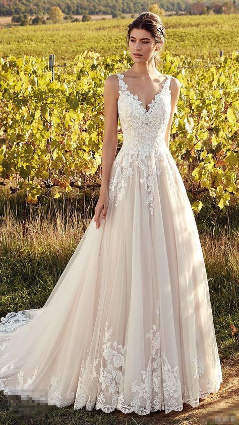 Gorgeous Appliques Lace Wedding Dresses, V-neck Tulle Sweep Train
