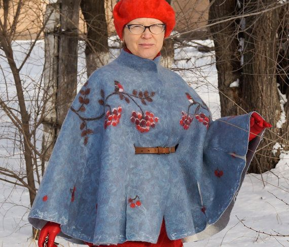 Womens felted wool cape Bullfinches от MagikfeltAntonio на Etsy