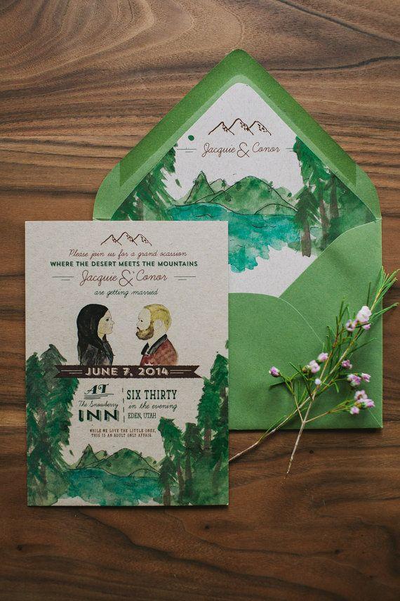 Rustic Woodland Wedding Invitation: Custom Water Color Illustrations