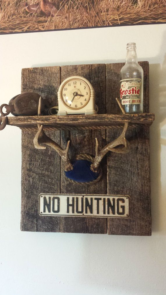 Whitetail Deer Antler Shelf With No Hunting Sign