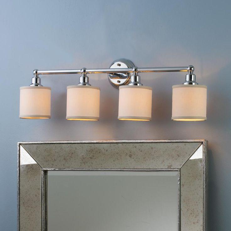 Linen Drum Shade Bath Light   4 Light66 best Great Looks for the Bath images on Pinterest   Bathroom  . Contemporary Urban Bath Vanity Light. Home Design Ideas