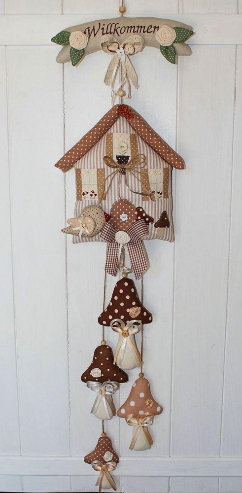 ✿ Girlande Vogelhaus Haus mit  Pilz Fliegenpilz Vogel Tilda Landhaus  Sommer ✿