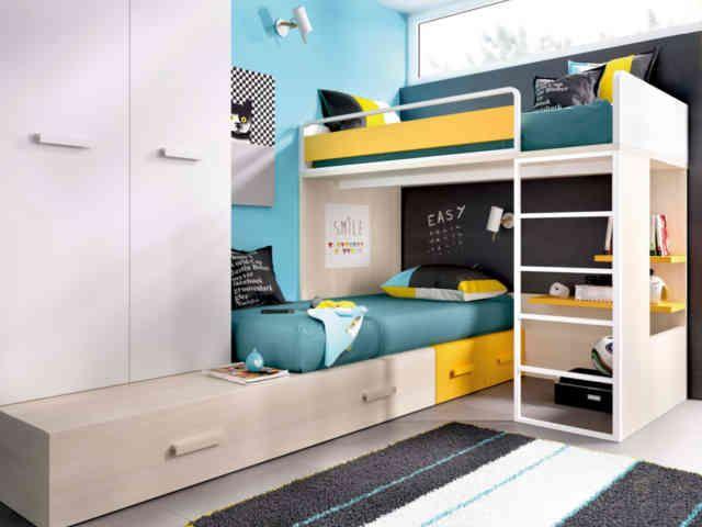 Composici n en l para tres camas de 90x190 cm formada por - Base de cama ikea ...