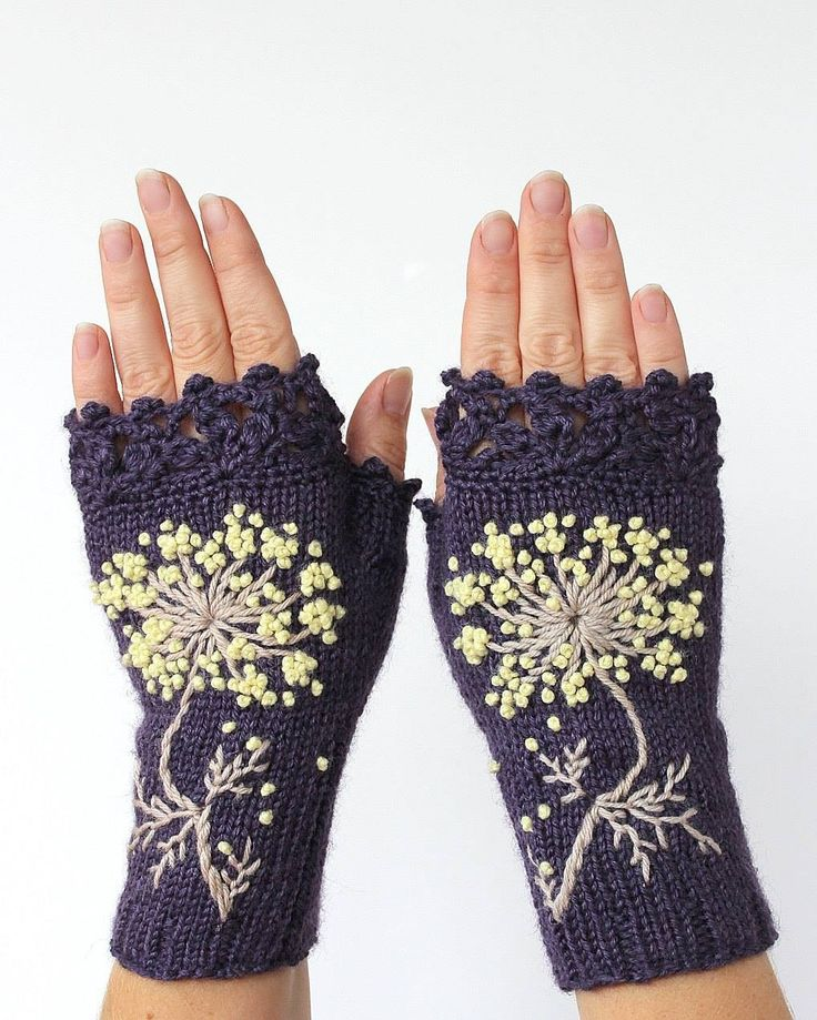 Lacey tipped knit hand warmers with embroidered flowers