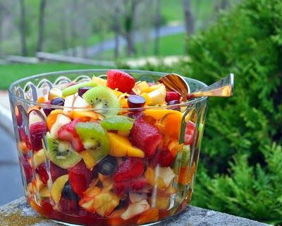 Winter Fruit Salad, when fresh fruit is scarce, a combination of fresh, frozen and canned fruit brightened with lemon peel and a fruity liqueur like Grand Marnier ~ Vegan, gluten-free and Weight Watchers 2 PointsPlus ~ KitchenParade.com