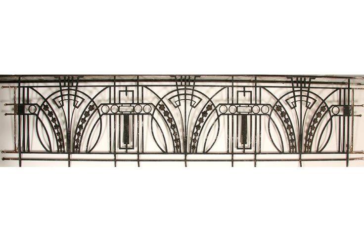 Art Deco wrought iron balcony panel with returns circa 1920.