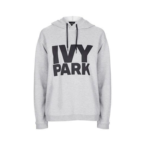 Oversized Logo Hoodie by Ivy Park ($47) ❤ liked on Polyvore featuring tops, hoodies, light grey m, sports hoodie, sweatshirt hoodies, oversized hoodies, sport hoodies and hoodie top