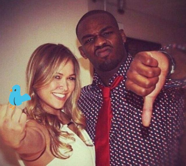 Good advice: Jon Jones offered words of support for Ronda Rousey after her second straight loss. (Photo credit: Twitter)