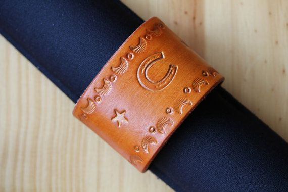 Hand Tooled Leather Bracelet by Tina's Leather Crafts on Etsy.com.  Repin To Remember.