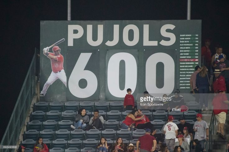 The sign is updated after Los Angeles Angels of Anaheim designated hitter Albert Pujols (5) after hitting his 600 career home run in an MLB game between the Minnesota Twins and the Los Angeles Angels of Anaheim on June 3, 2017 at Angel Stadium of Anaheim in Anaheim, CA.
