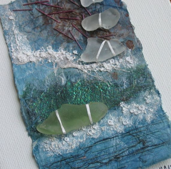 seashore art - embellished with sea glass (beach glass) in white and a lovely soft pale green.