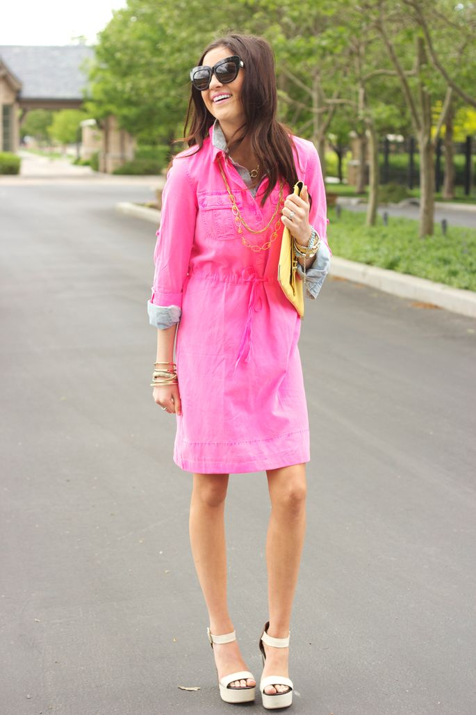 Fun in Pink. Dress: J.Crew   Button Up: J.Crew   Shoes: c/o Frock Candy    Bag: Asos     Sunnies: House of Harlow   Jewelry: Michael Kors, c/o Poshlocket   Lips: Hip n' Happy {liner}, Royal Azaela {lipstick} from Pink Peonies blog.