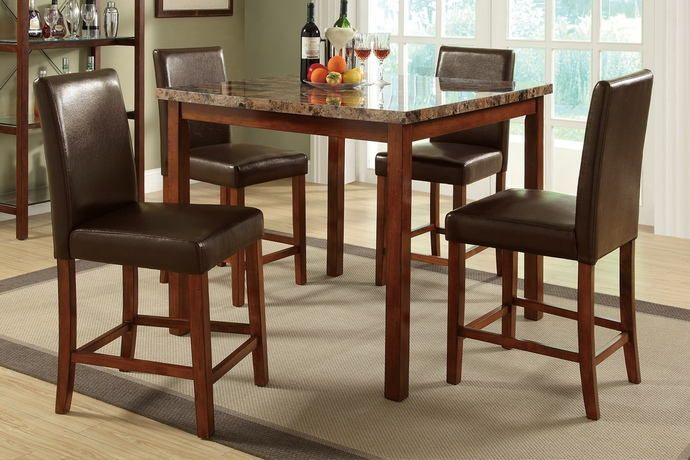 """5 pc Manhattan II collection Medium brown finish wood and faux marble counter height dining table set.  This set includes the table and 4 side chairs.  Table measures 42"""" x 42"""" x 36"""" H.  Chairs measure 19"""" x 21"""" x 40"""" H.  Some assembly required."""