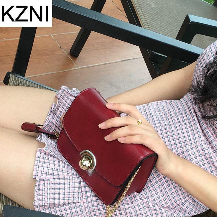 33.21$  Watch now  - KZNI genuine leather women messenger bag crossbody chain bag leather handbags luxe handtassen vrouwen tassen designer L010128
