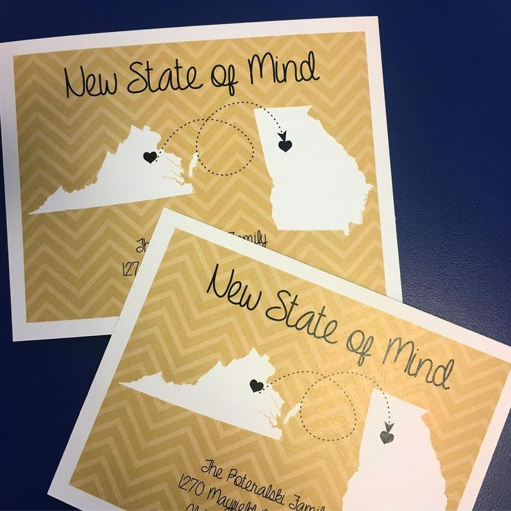 Moving? Ready to announce your new address? These cute moving announcement cards are on my Etsy site and colors and states are totally customizable! These are featuring a handy combo of VCU and GTech colors! #movingannouncements #movingannouncement #VAtoGA #virginia #georgia #goldandblack #personalized #rkdesignsstudio